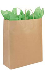 Jumbo Recycled Natural Kraft Paper Shopping Bags - Case of 200