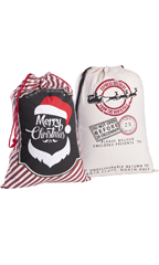 Merry Christmas/Reindeer Mail Drawstring Bags - 2 Pack
