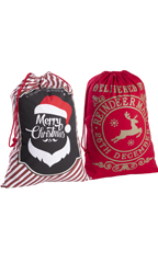 Merry Christmas/Red Reindeer Mail Drawstring Bags - Pack of 2